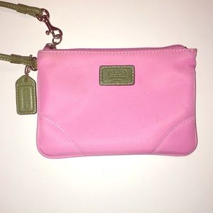 Coach Pink and Green Wristlet